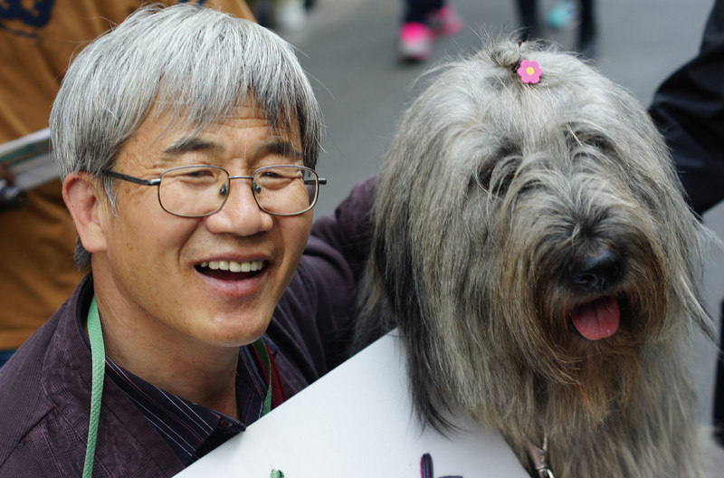 A Korean man wearing glasses and a big grin hugs his dog in Insadong, Seoul, South Korea.