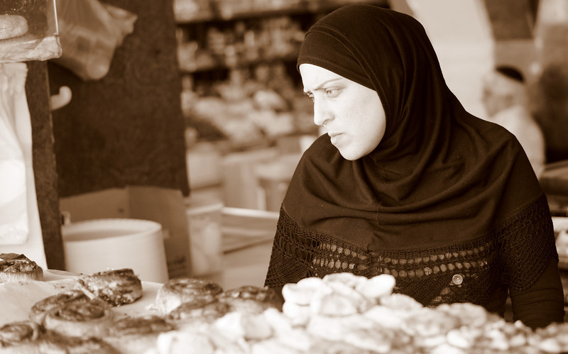 This lady wearing a hijab was selling sweets and other pastries at a popular local shop in Jaffa, Israel.
