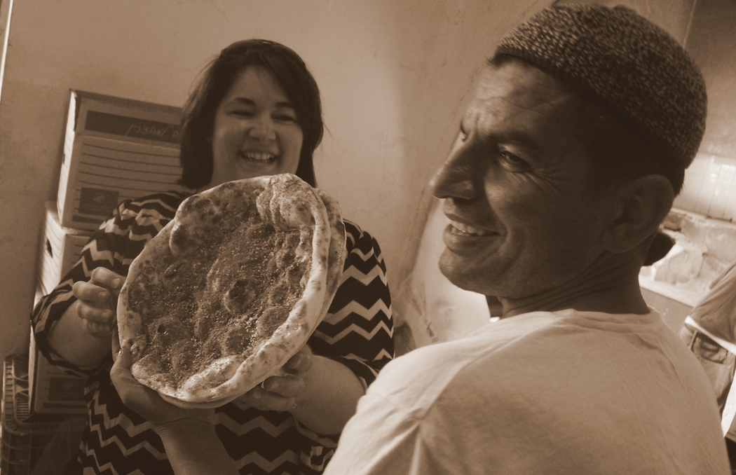 This animated man let us into his bakery and showed us how he skillfully prepares bread.