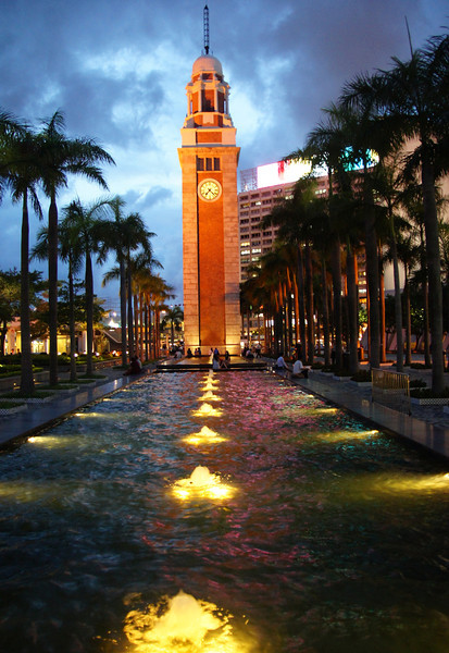 Scenic view of the large clock on sunset in Kowloon, China.