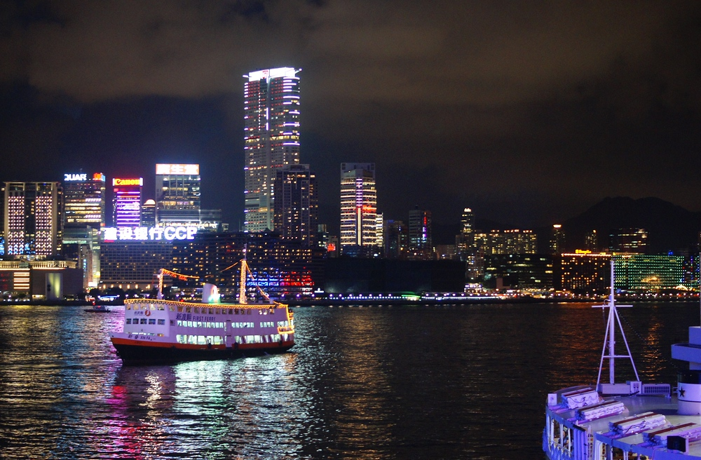 A photo of the Star Ferry at night - Hong Island, China.