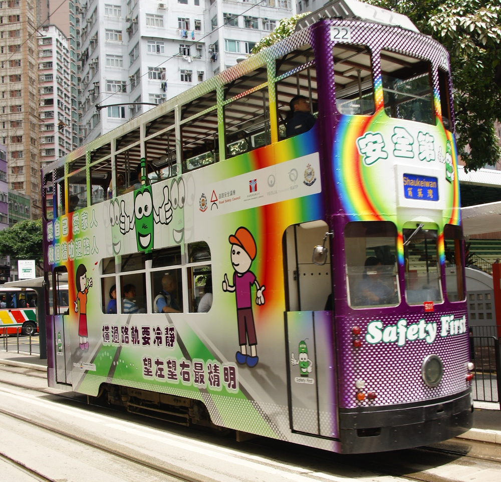 A photo of the double decker tram transportation during the daytime - Hong Kong Island, China.
