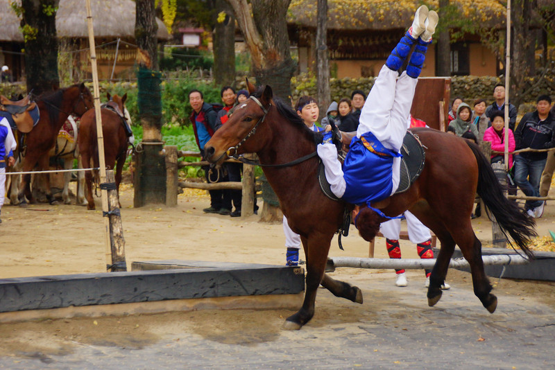 The stunts and overall athleticism of the Korean equestrian performers was truly off the charts spectacular.  I think this qualifies under the category of 'do not try this at home' :P