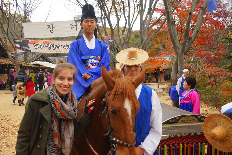 In this photo Audrey is posing with two Korean men who participated in the reenactment of the Korean traditional marriage ceremony.