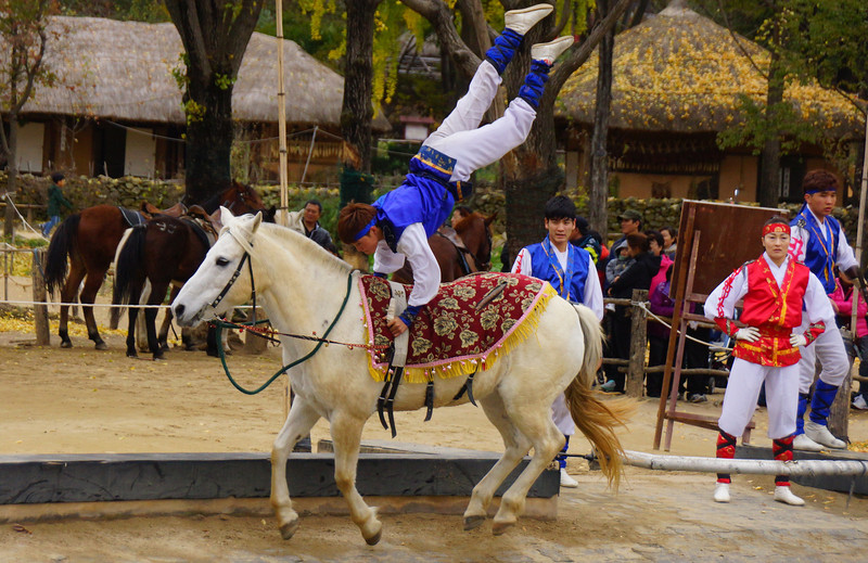 This Korean boy had the crowd mesmerized by his equestrian stunts.