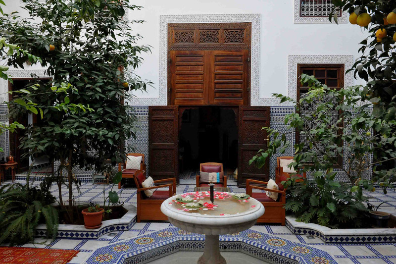 …. Or you may just want to retire to your Riad and soak up the peace and serenity found inside this magnificent oasis hidden amidst the Medina walls. These Raids where once reserved for only the wealthy but many have been restored and transformed into stunning guest houses.. Relaxing amongst the orange trees and Moorish fountains inside the open courtyard is the perfect way to end a day of exploring the Fes Medina.