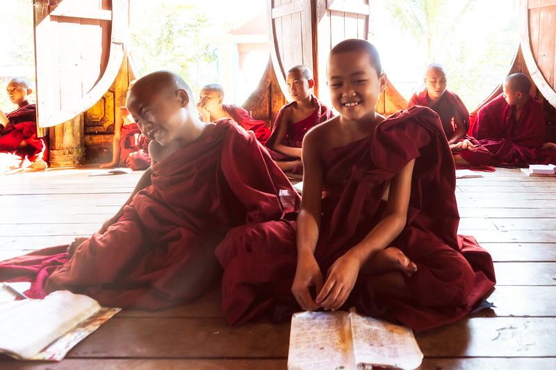 Novice monks playing during study time in Bagan, Myanmar