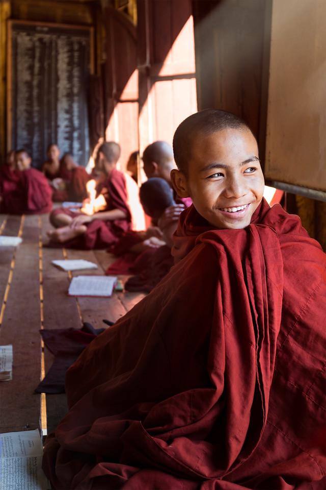 Monks studying at the 19th Century Shwe Yan Pyay Monastery, near Nyaung Shwe