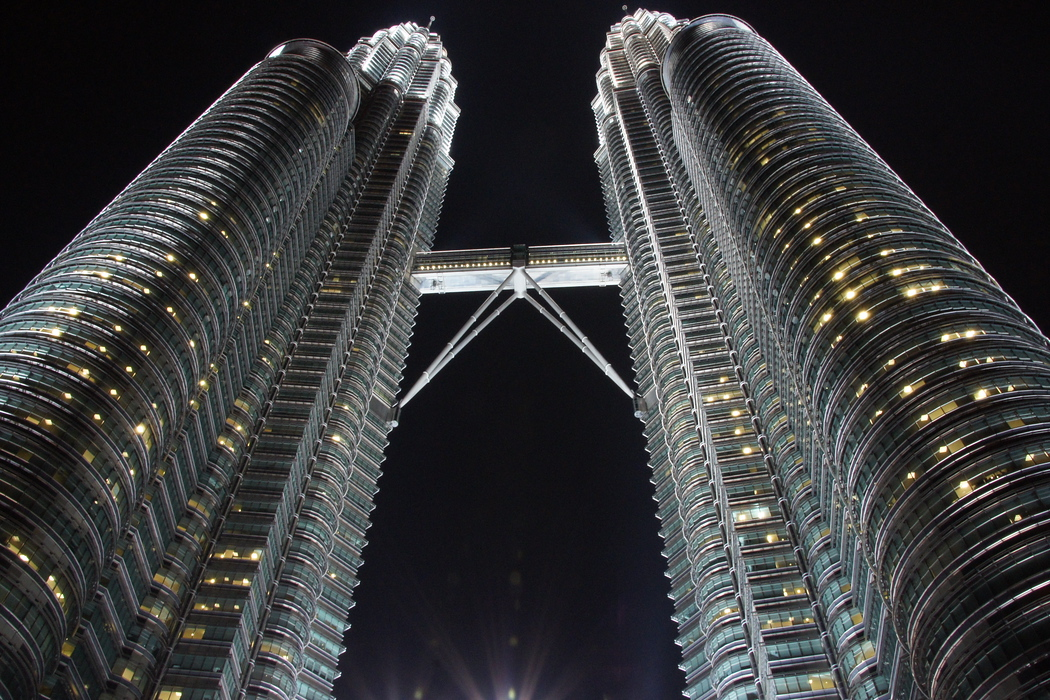 This shot was taken in between the towers and showcases the skybridge in the middle.