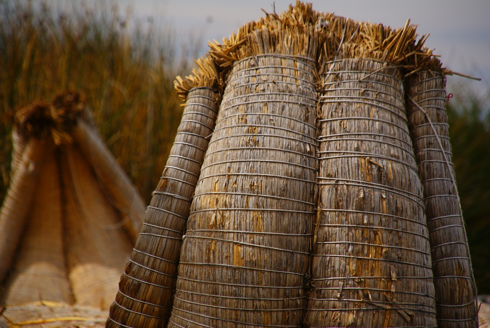 Another shot of the totora reed boats used by the Uros people - Lake Titicaca, Peru.