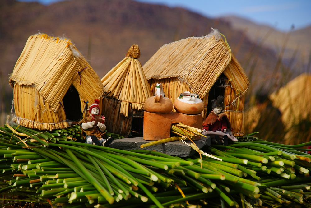 A miniature demonstration of how the Uros people build their floating islands from the totora reeds.