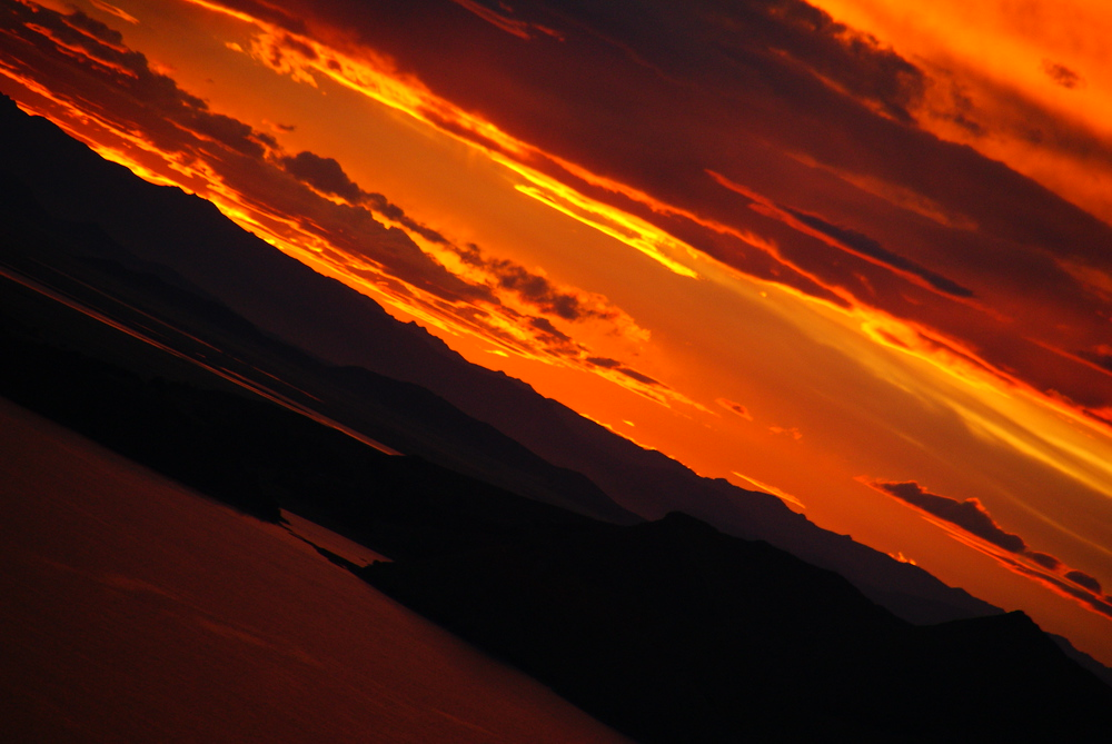 A gorgeous sunset, in which the sky appeared to be on fire, over Lake Titicaca from the Peruvian side.