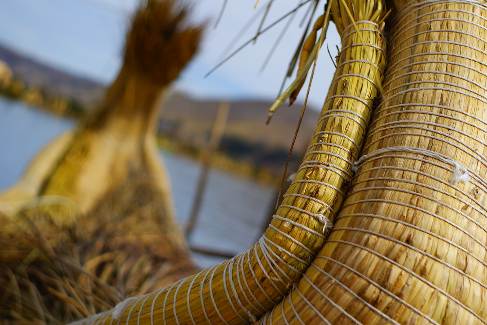 A close-up shot of the totora reed boats made by the Uros people - Lake Titicaca, Peru.