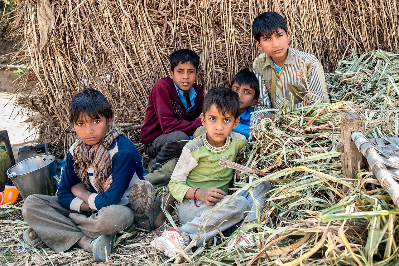 Children at the sugar farm taking a break