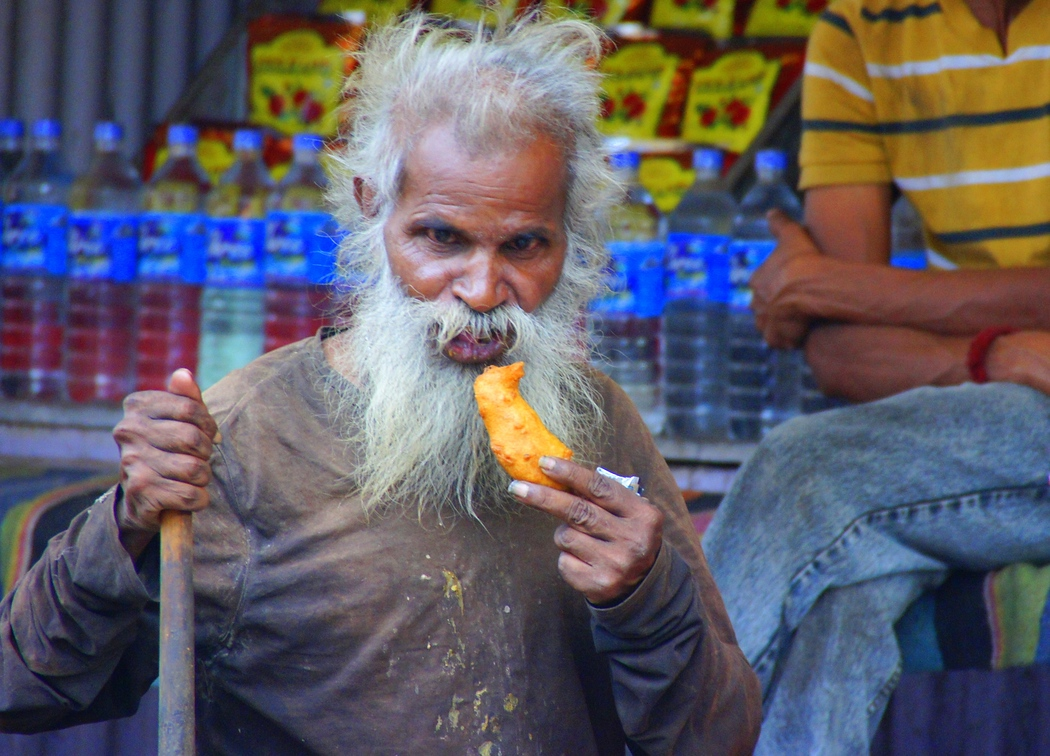 An India man with a characteristically long white beard appears to be thoroughly enjoying this battered snack - Pushkar, Rajasthan, India.