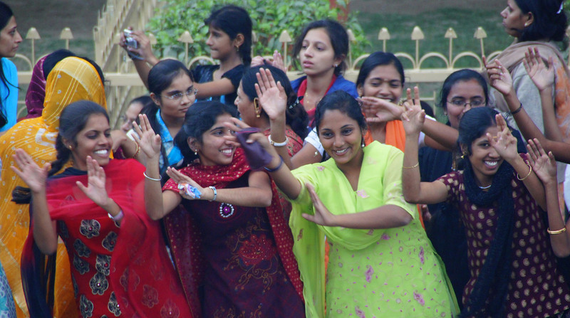 A group of ladies engage in dance sessions prior to the India-Pakistan border closing ceremony - Wagah, Atari, India.