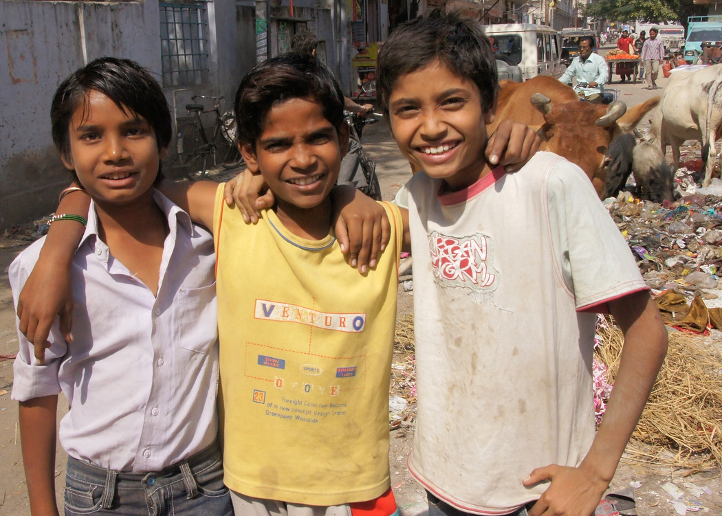 A trio of best buds posing and hamming it up for the camera with cows and pigs scrounging for scraps of garbage in the background. Travel photo from Jaipur - Rajasthan, India.