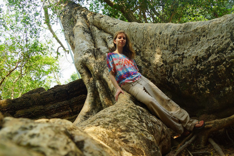 Here Audrey leans against one of the many trees that has taken over and won the battle of nature versus man at the ruins of Ta Prohm, Angkor, Cambodia.