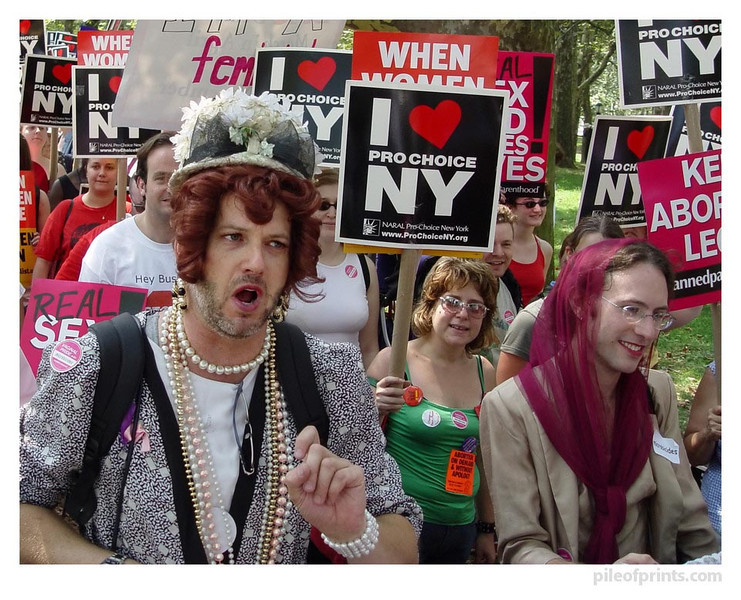 <b>In the summer of 2004 I traveled to New York City to take part in  and photograph the protests at the Republican National Convention.  We start out with the Church Ladies for Choice because I wish to consider  in these captions the role the church plays in the Republican party.