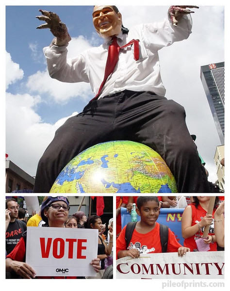 <b>The whole world is watching. Vote community and topple Bush.