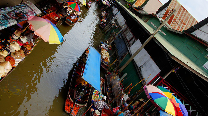 An overhead perspective shot of the colorful Thai floating market.