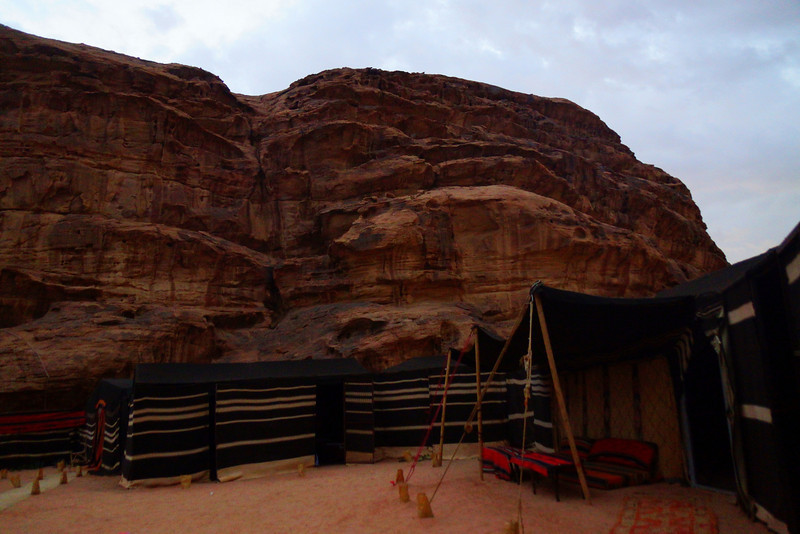 Here is a photo of the tents we used while camping overnight with the Bedouins in Wadi Rum, Jordan.  Inside our tent were sample mattresses, warm blankets and candles.