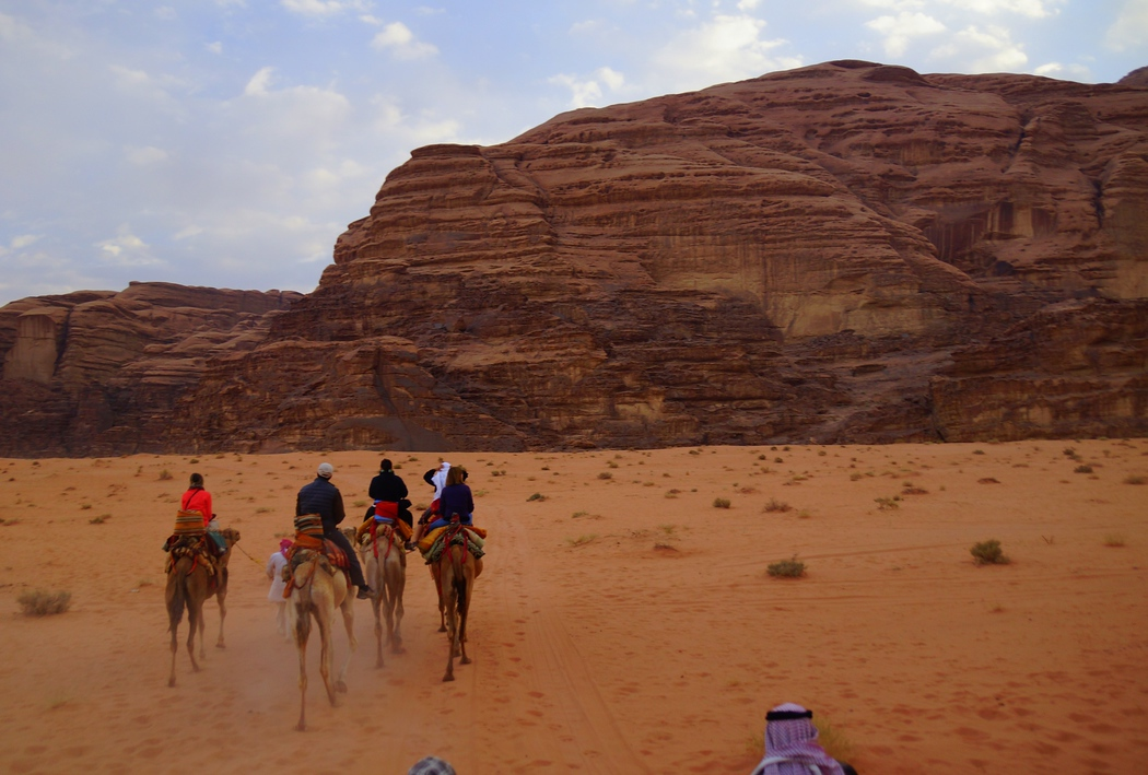 Here is another group shot of us riding camels. Can you spot Audrey?