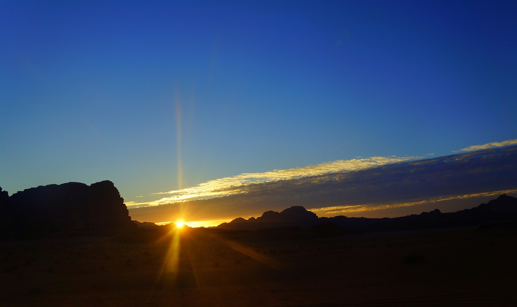 This is another perspective shot of rock formations during sunset in Wadi Rum, Jordan. This was the nicest sunset we witnessed during our entire time in Jordan.