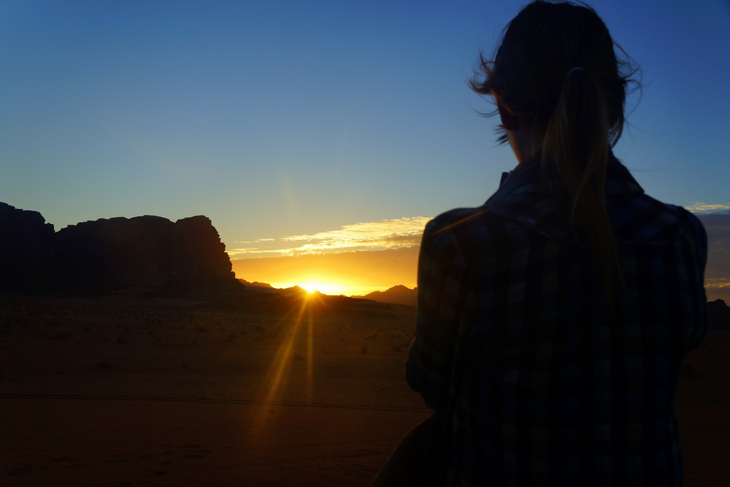 This is a sunset shot from Wadi Rum where Audrey is rendered as a silhouette. Our guides specifically took us to this particular point roughly half an hour before sunset. We certainly were not disappointed.