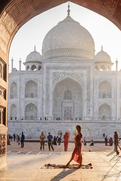 Posing at the Side Entrance of the Taj Mahal