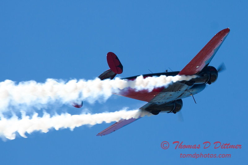 """872 - Matt Younkin performs for fans in his Beechcraft BE18 """"Twin Beech"""" at the South East Iowa Air Show in Burlington Iowa"""