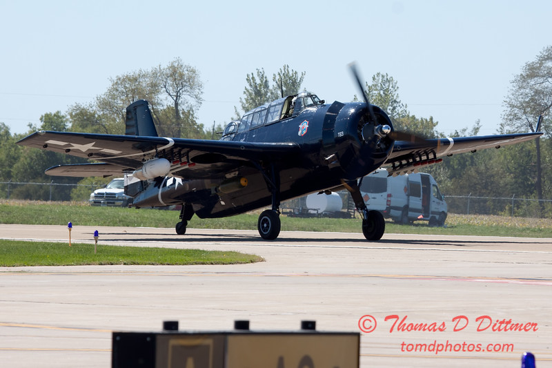 579 - TBM returns and taxies for parking at the South East Iowa Air Show in Burlington Iowa