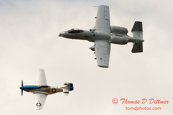 """777 - Vlado Lenoch in his P-51 Mustang and A-10 East in the """"Heritage Flight"""" at Wings over Waukegan 2012"""