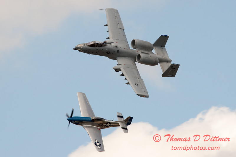 """775 - Vlado Lenoch in his P-51 Mustang and A-10 East in the """"Heritage Flight"""" at Wings over Waukegan 2012"""