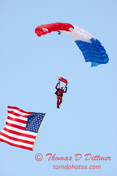 108 - Liberty Parachute Team member descends into Wings over Waukegan 2012