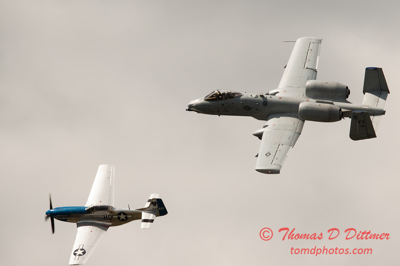 "779 - Vlado Lenoch in his P-51 Mustang and A-10 East in the ""Heritage Flight"" at Wings over Waukegan 2012"