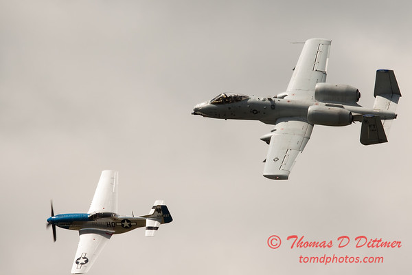 """779 - Vlado Lenoch in his P-51 Mustang and A-10 East in the """"Heritage Flight"""" at Wings over Waukegan 2012"""