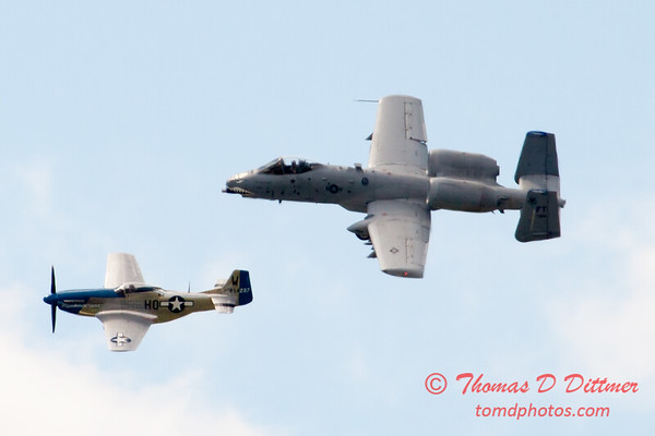 """765 - Vlado Lenoch in his P-51 Mustang and A-10 East fly the """"Heritage Flight at Wings over Waukegan 2012"""