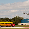 "907 - The ""RACE"" is on! Paul Stender and the Indy Boys School bus against Vlado Lenoch and his P-51 at Wings over Waukegan 2012"