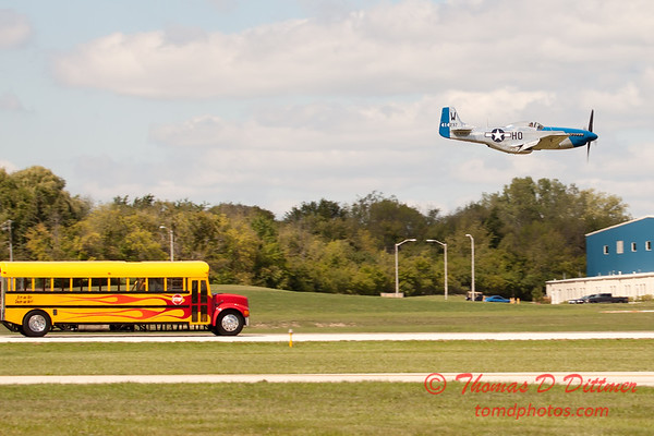 """906 - The """"RACE"""" is on! Paul Stender and the Indy Boys School bus against Vlado Lenoch and his P-51 at Wings over Waukegan 2012"""