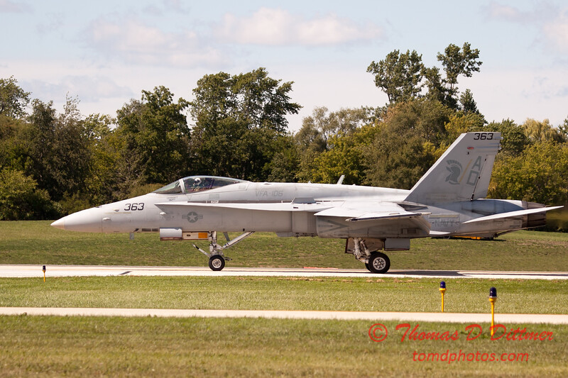 1329 - The VFA 106 Hornet East F/A-18 has landed and will be returning to parking at Wings over Waukegan 2012