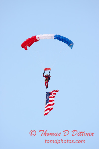 106 - Liberty Parachute Team member descends into Wings over Waukegan 2012
