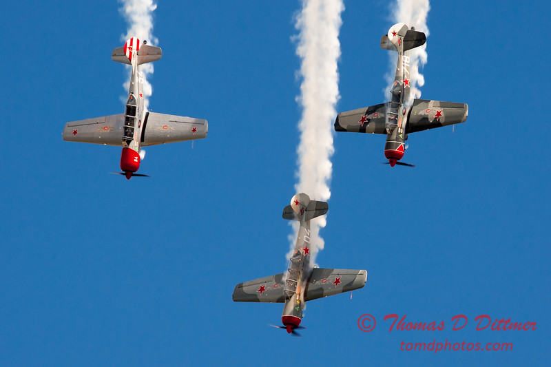 214 - Team Aerostar in Yakovlev Yak-52's perform at Wings over Waukegan 2012