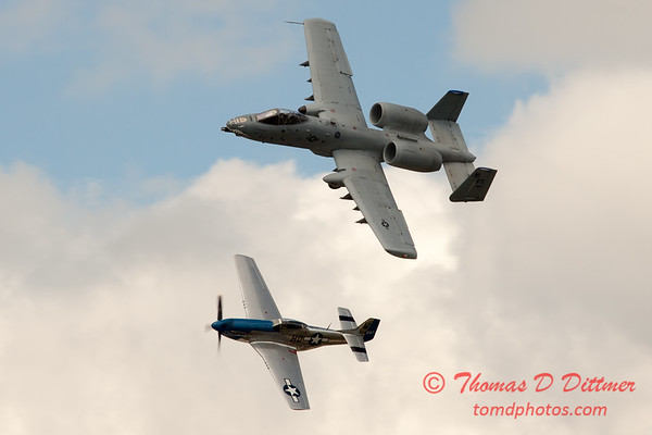 """772 - Vlado Lenoch in his P-51 Mustang and A-10 East in the """"Heritage Flight"""" at Wings over Waukegan 2012"""