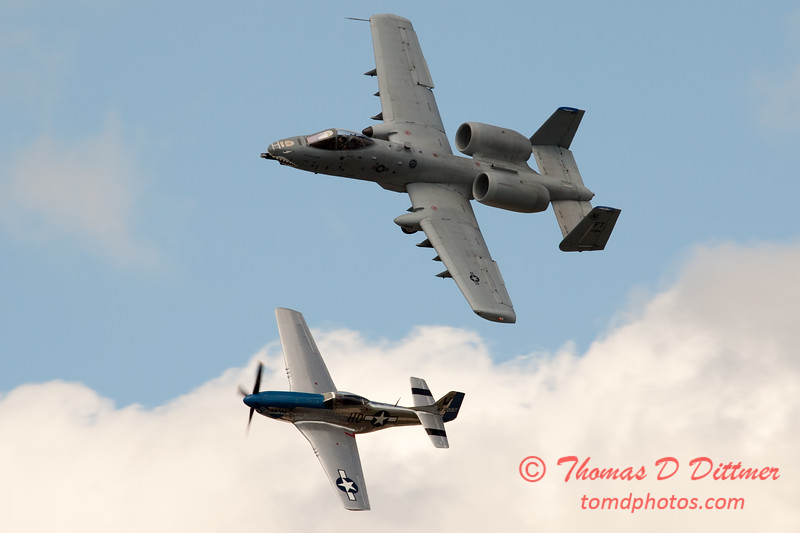"""774 - Vlado Lenoch in his P-51 Mustang and A-10 East in the """"Heritage Flight"""" at Wings over Waukegan 2012"""