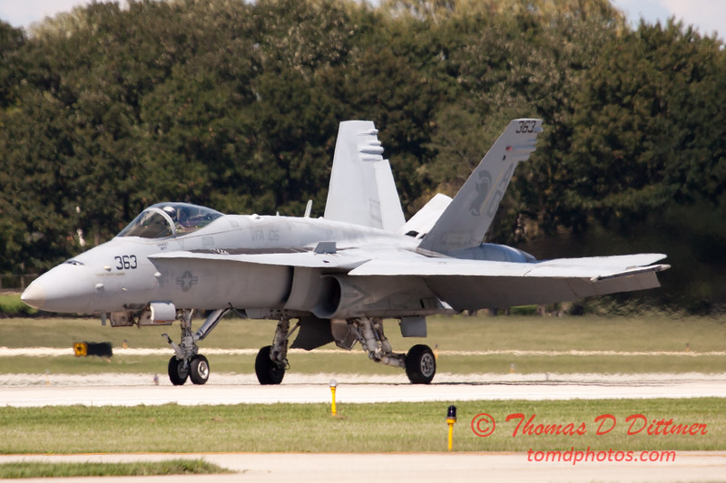 1324 - The VFA 106 Hornet East F/A-18 has landed and will be returning to parking at Wings over Waukegan 2012