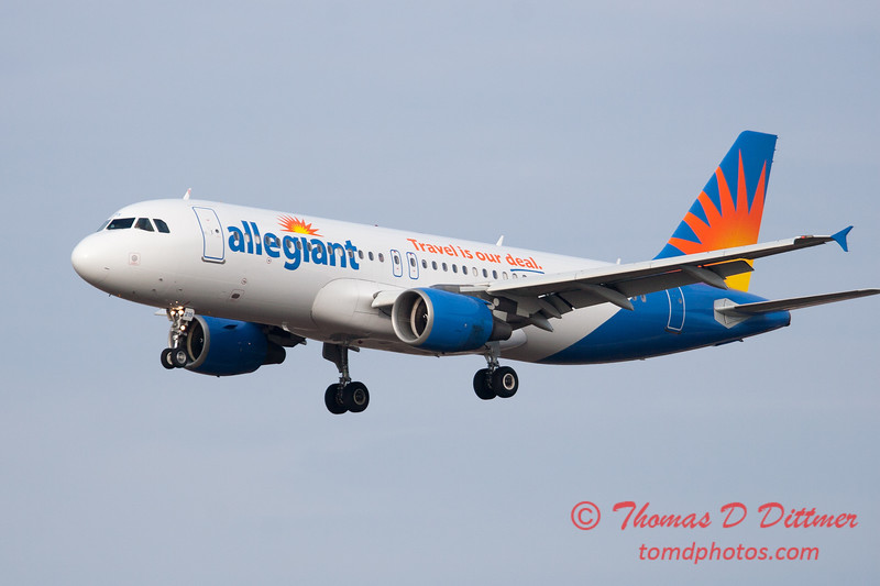 56 - Allegiant Airways approaches Runway 29 for landing at Central Illinois Regional Airport - Bloomington Illinois - Sunday March 9th 2014