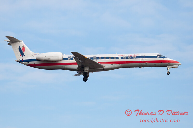 44 - American Eagle approaches Runway 20 for landing at Central Illinois Regional Airport - Bloomington Illinois - Sunday March 9th 2014