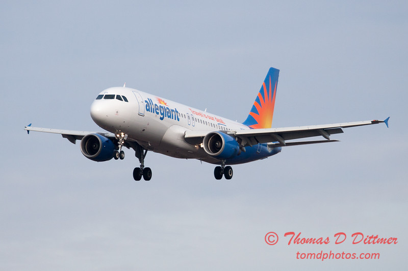 54 - Allegiant Airways approaches Runway 29 for landing at Central Illinois Regional Airport - Bloomington Illinois - Sunday March 9th 2014