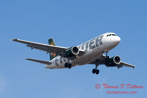 3 - A Frontier Airlines Airbus A319 approaches Central Illinois Regional Airport to land - Bloomington Illinois - Friday March 7th 2014